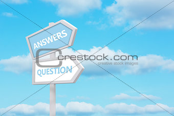 Answers and question road sign