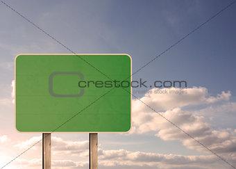 Green empty road sign