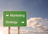Marketing and strategy road sign