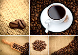 Various pictures representing coffee