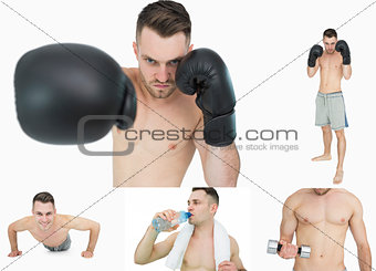 Collage of a man boxing