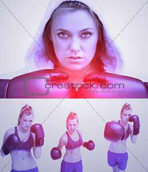 Purple collage of woman boxing