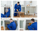 Collage of carpenter working