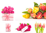 Collage of flowers and gifts