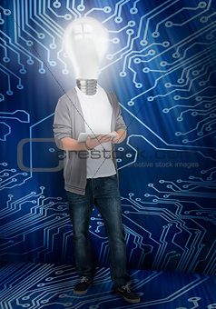 Student with light bulb head lighting