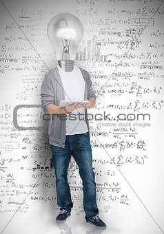 Student with light bulb head