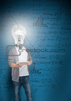Boy with light bulb head lighting