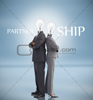 Business people with light bulbs instead of heads and partnership text