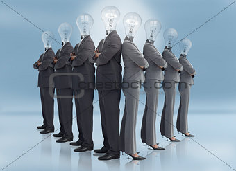 Businessman and businesswoman with light bulb heads multiplied
