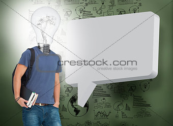 Student with light bulb instead of head and speech bubble