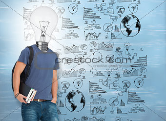 Student with lit up bulb instead of head