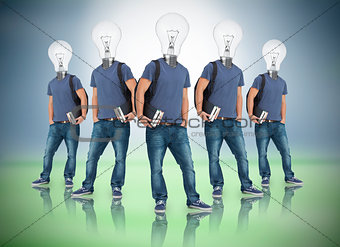 Multiple image of student with light bulb head