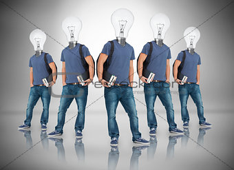 Multiple image of student with light bulb for head