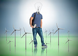 Student with lightbulb head with wind turbines