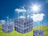 Turbines on cubes made of solar panels