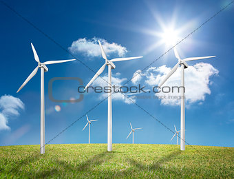 Six wind turbines in a field