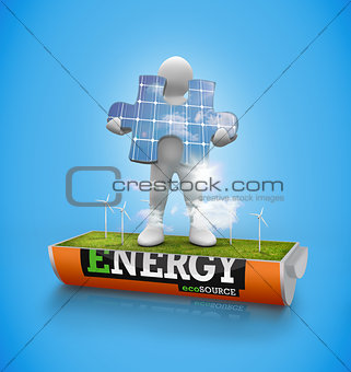 Character holding solar panel jigsaw in a wind turbine field in a battery