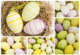 Collage of easter eggs