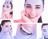 Collage of smiling woman