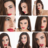 Collage of attractive brunette with red lipstick