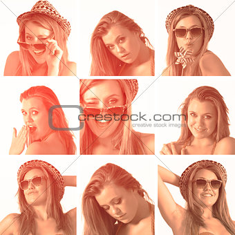 Collage of a woman with hat and sunglasses in sepia