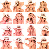 Collage of woman with straw hat and sunglasses