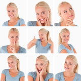 Collage of cute blonde woman