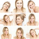 Collage of attractive blonde woman