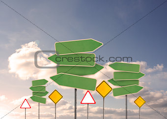 Group of empty signposts
