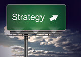 Green billboard showing the direction of the strategy