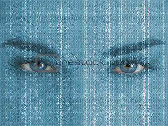Attractive blue eyed woman with matrix on face