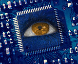 Brown eye in middle of blue circuit board