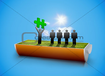 Character showing green jigsaw piece to others in half battery