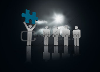 Character showing blue jigsaw piece to others