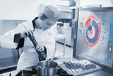 Chef cooking for a restaurant with futuristic interface