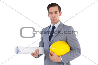 Architect holding plans and hard hat