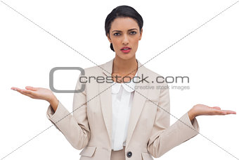 Confused attractive businesswoman
