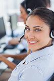 Close up of a call centre agent