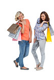 Women doing shopping and holding bags
