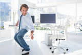 Employee skating in the office