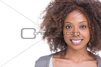Smiling brunette woman standing