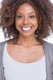 Portrait of smiling brunette woman standing
