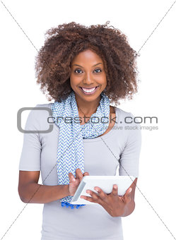 Attractive woman using tablet pc