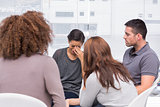 Patient crying during a group session
