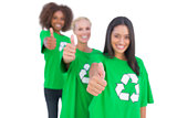 Three smiling enviromental activists giving thumbs up
