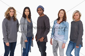 Fashionable young people in a line