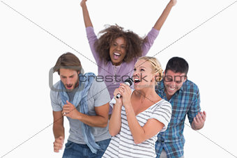 Excited group at karaoke