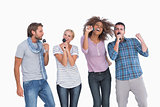 Fun group singing at karaoke