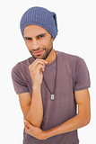 Thinking man wearing beanie hat