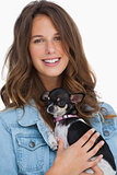 Pretty woman with her chihuahua
